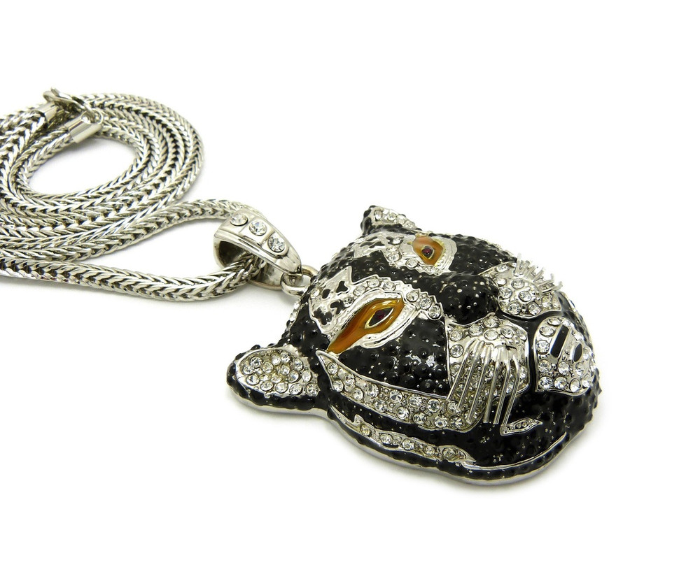 .925 Silver Simulated Diamond 3D Hip Hop Panther Face Pendant