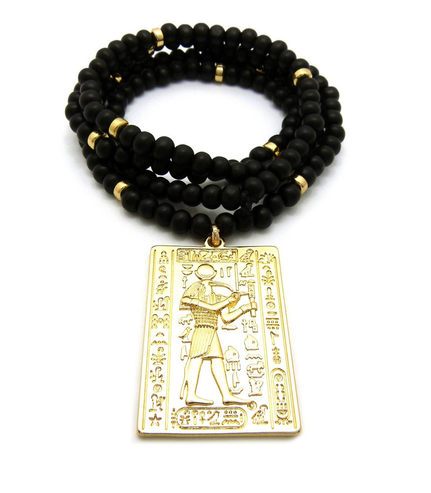 14k Gold God Of Egypt Thoth Medallion Beaded Chain Pendant