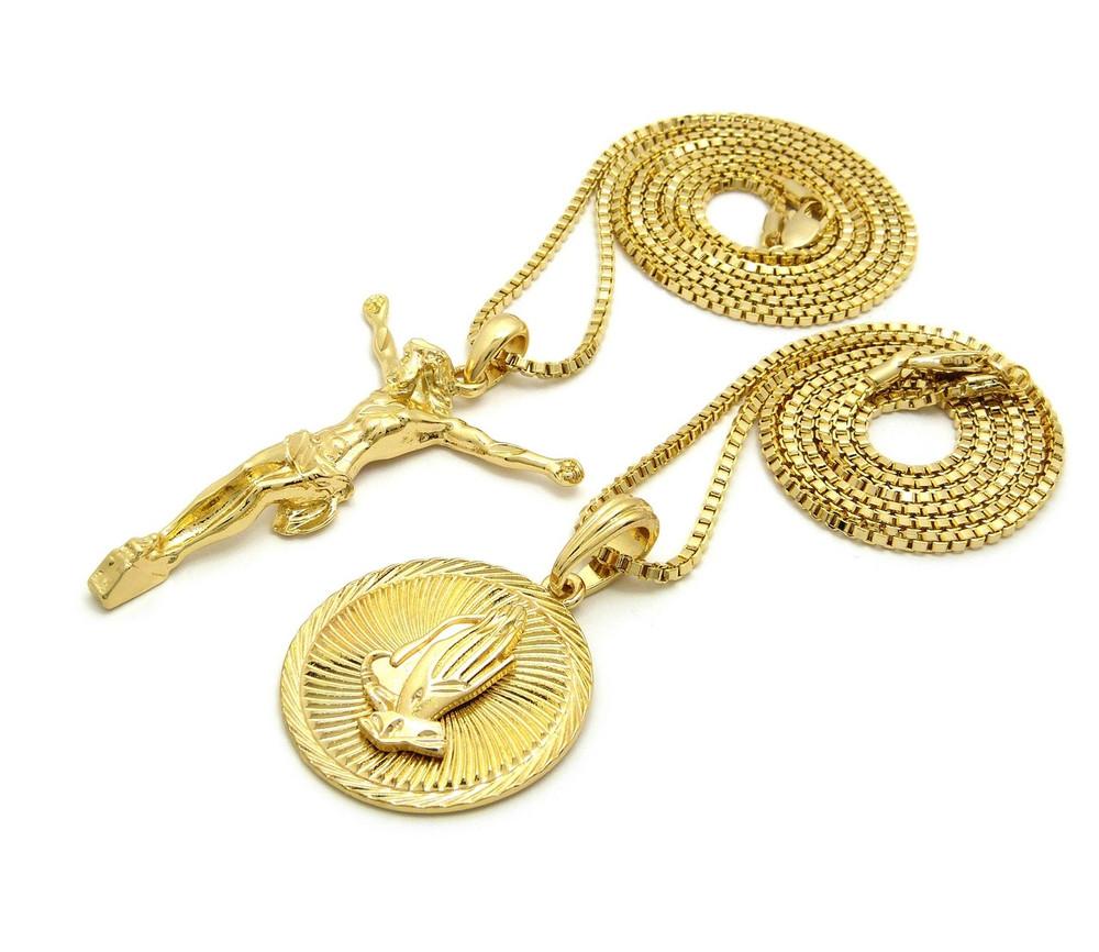 14k Gold Mens Prayer Hands 3D Jesus Cross Hip Hop Pendant