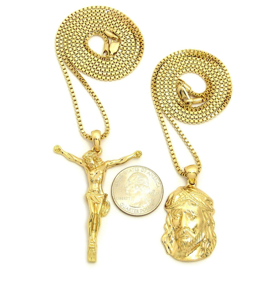 14k Gold Double JESUS Piece 3D Cross Hip Hop Pendant