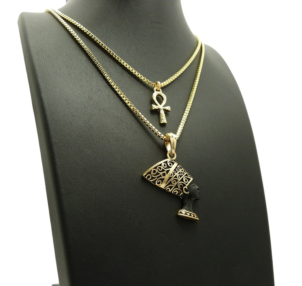 14k Gold Black African Queen Nefertiti Ankh Cross Pendant Chain