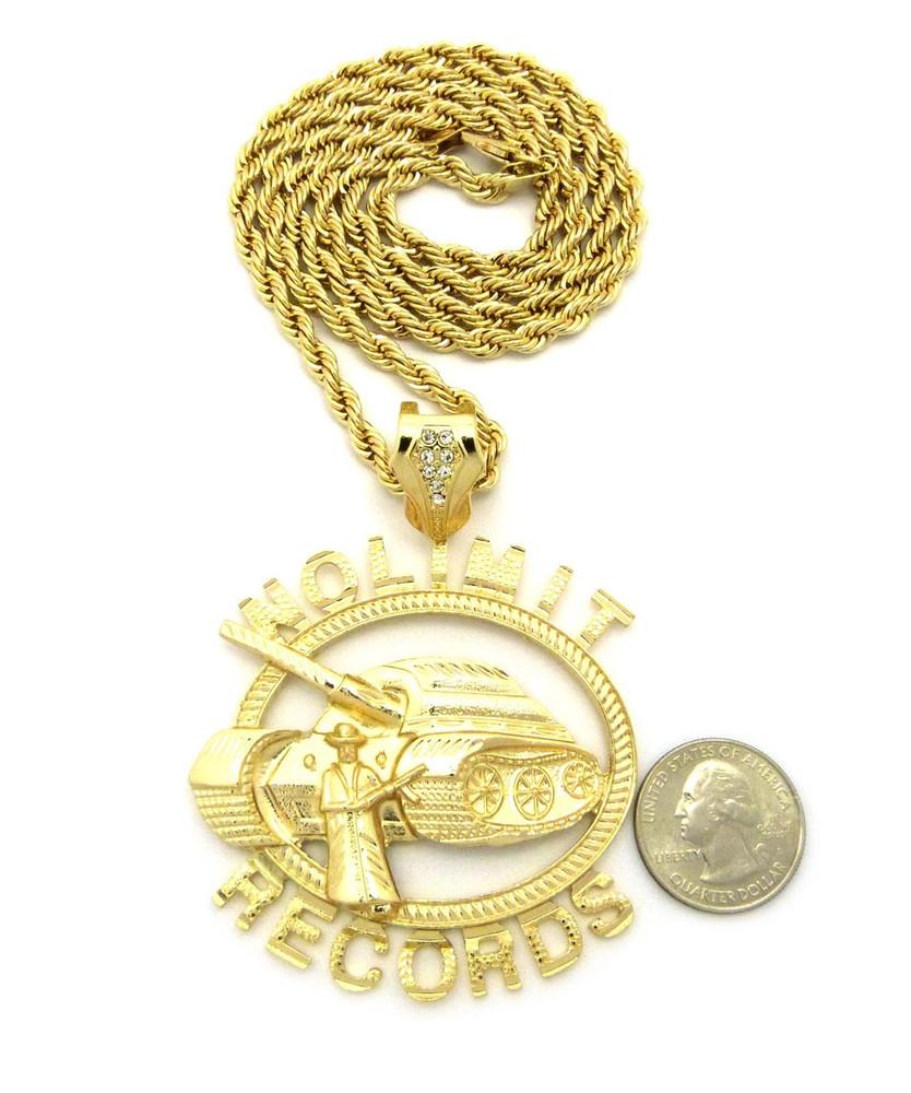14k Gold No Limit Inspired Tank Hip Hop Pendant Necklace
