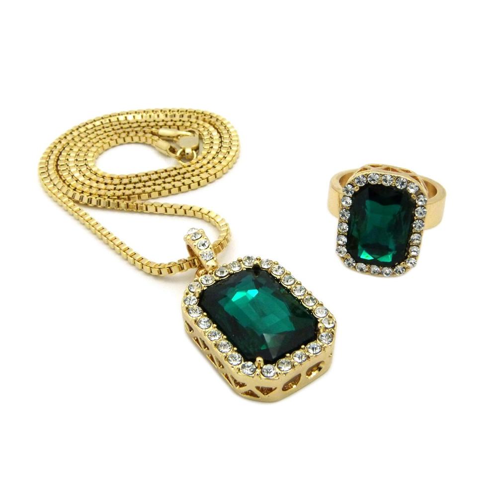 Simulated Diamond Green Onyx Pink Ring Gemstone Pendant Set