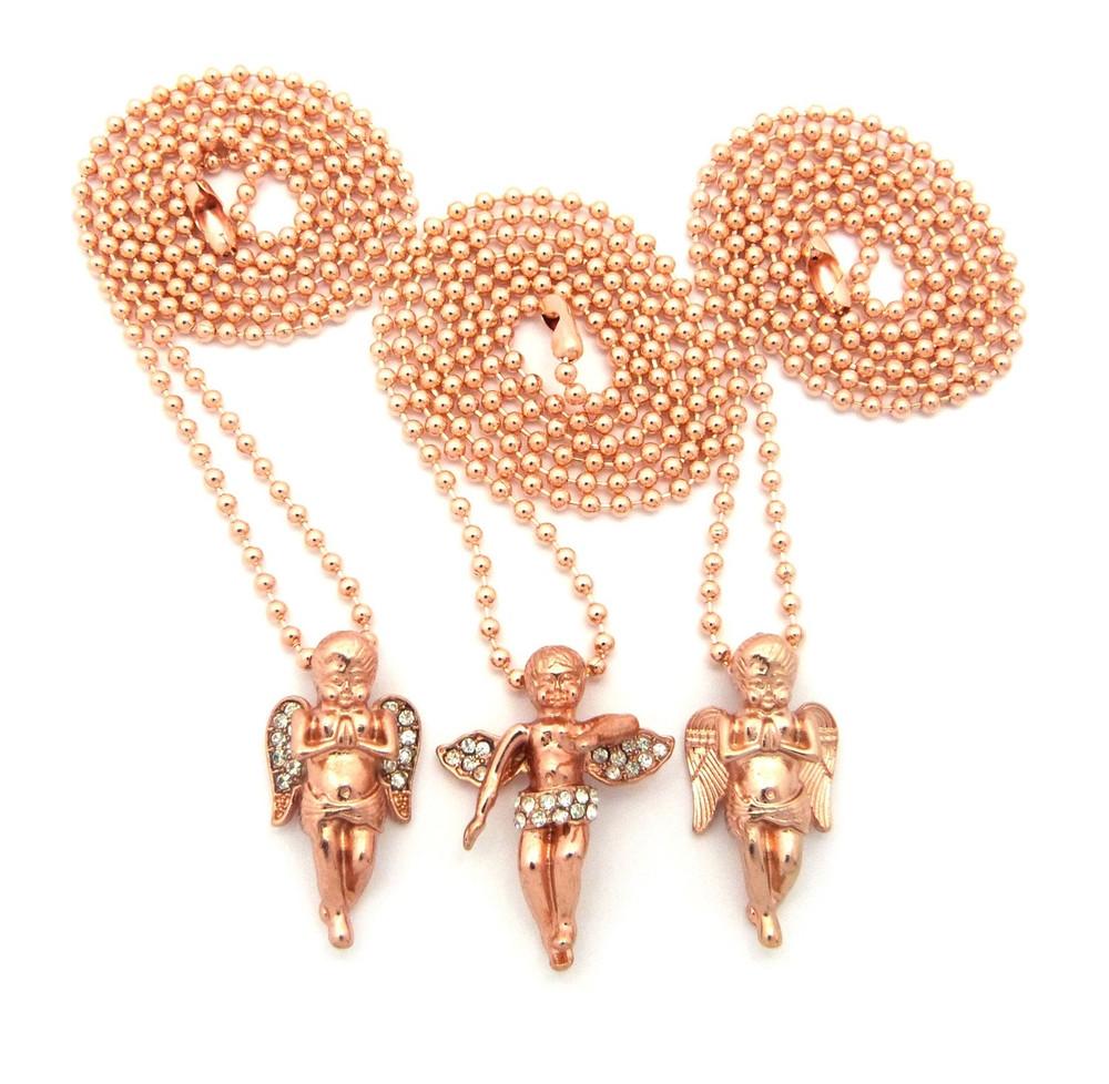 Rose Gold Angel Cherub Pendants Set