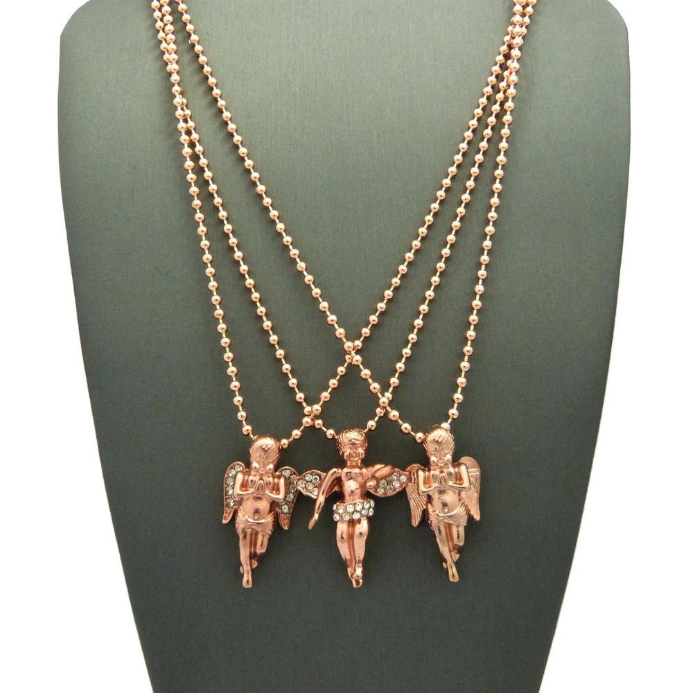 Simulated Diamond Trio Angel Cherub Rose Gold Pendant Set