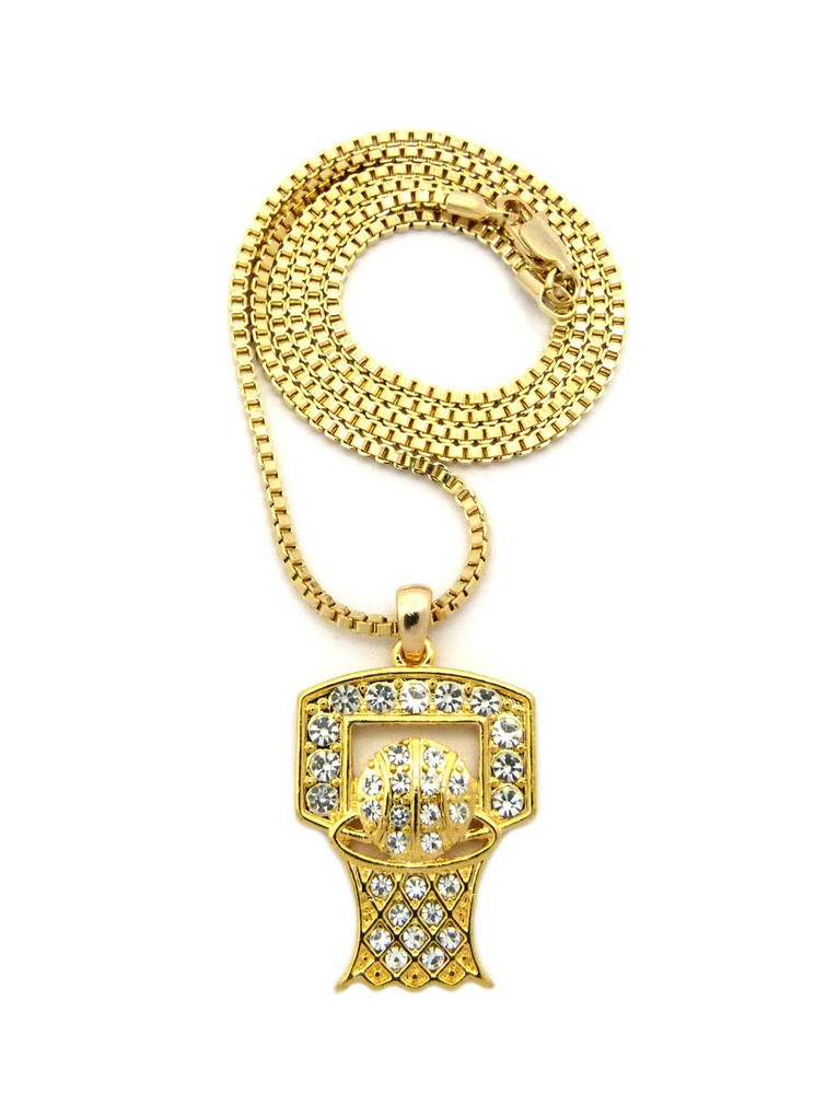 14k Gold Basketball Hoop Backboard Iced Out Pendant Chain