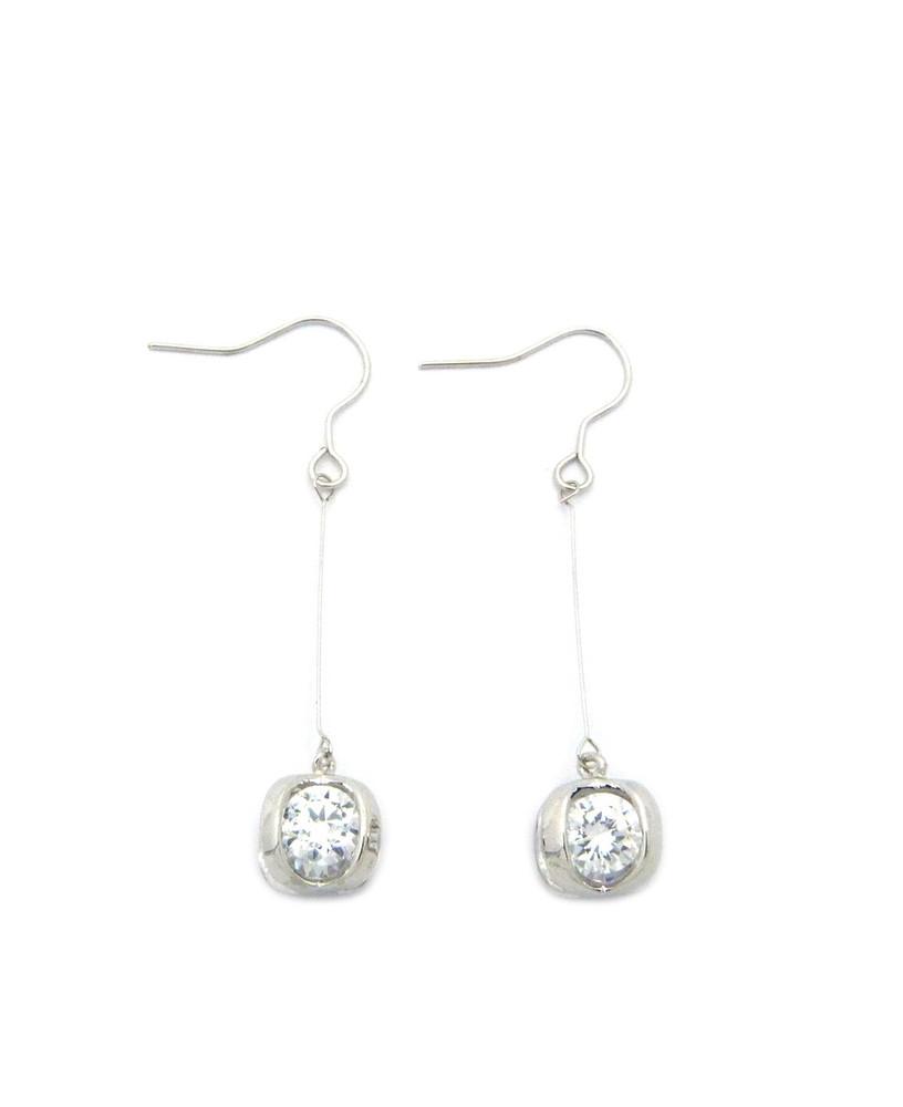 6mm Simulated Diamond Sterling Silver Long Hook Earrings