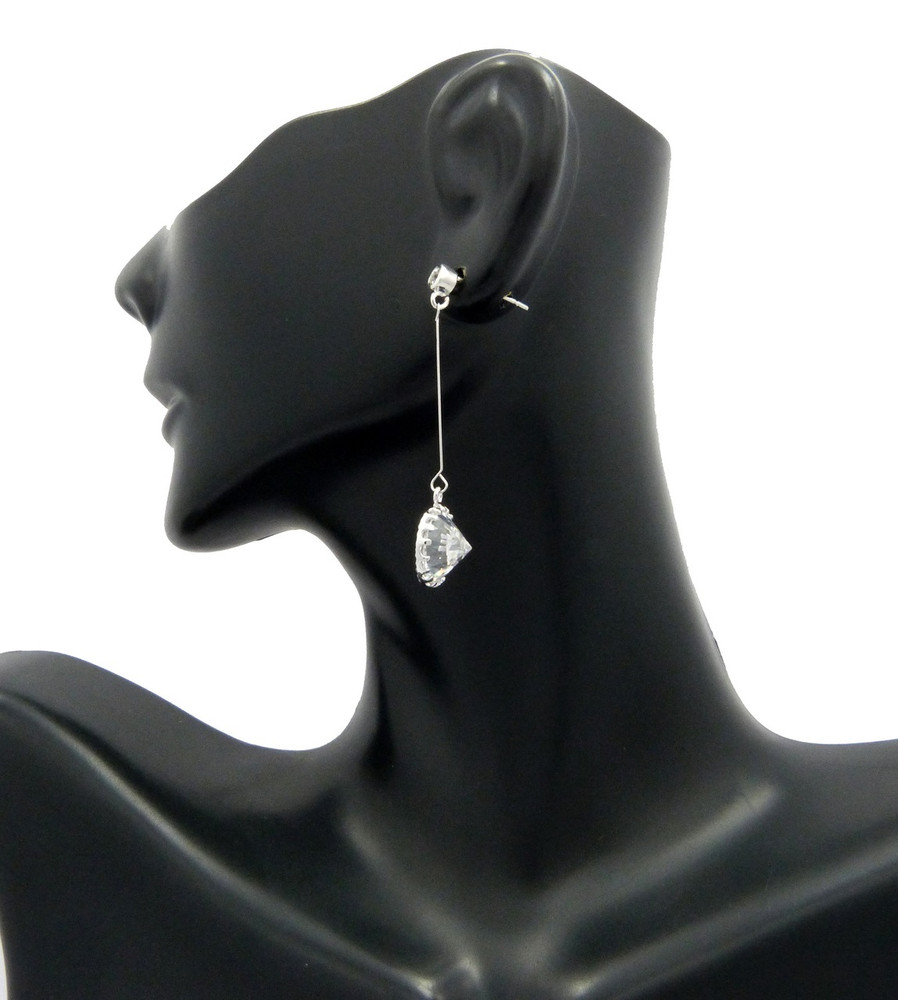 8mm Simulated Diamond Sterling Silver Short Hook Earrings