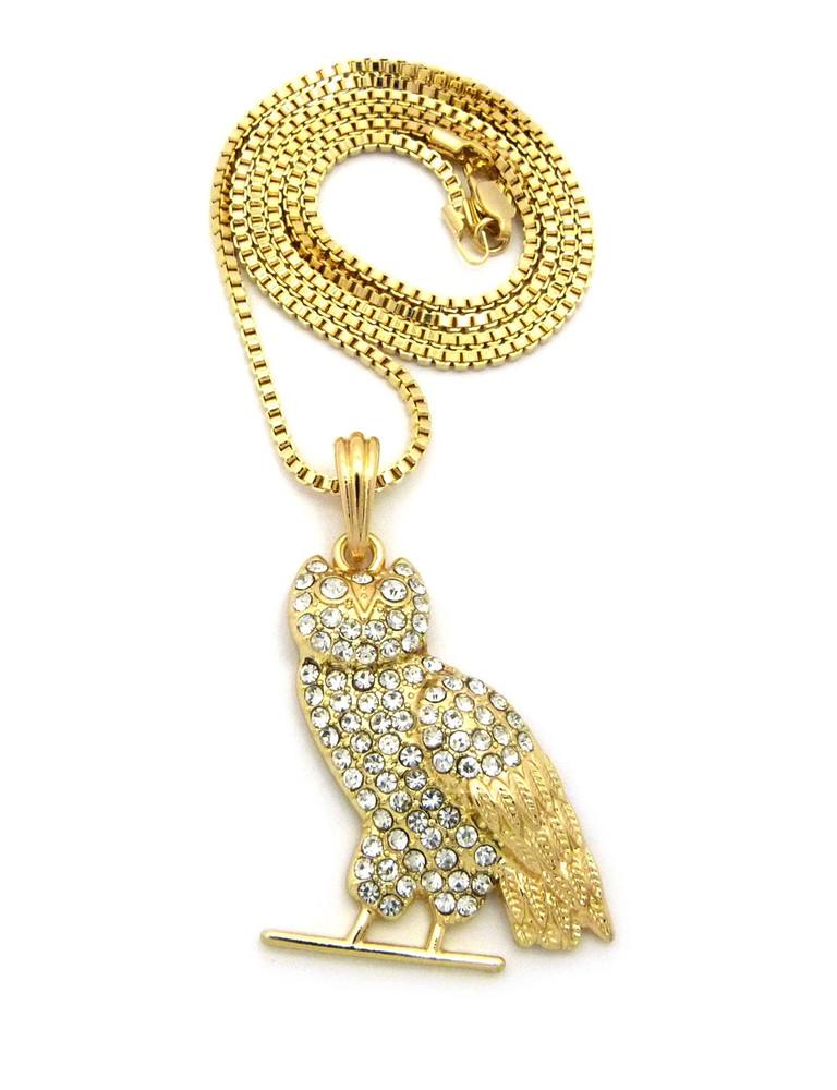 Hip Hop Diamond Cz Celebrity Inspired Perched Owl Pendant