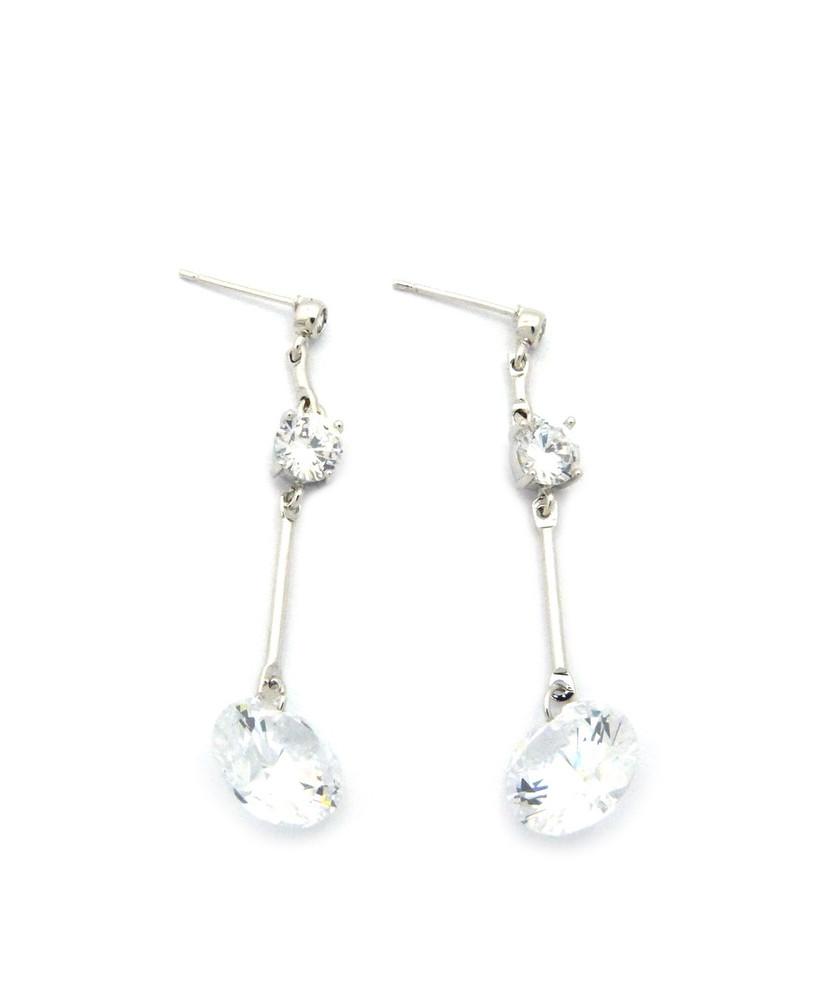 Ladies 6mm and 12mm Long Hook Cz Diamond Stone Earrings