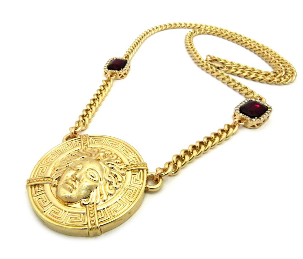14k Gold Medusa Gemstone Cuban Link Medallion Pendant