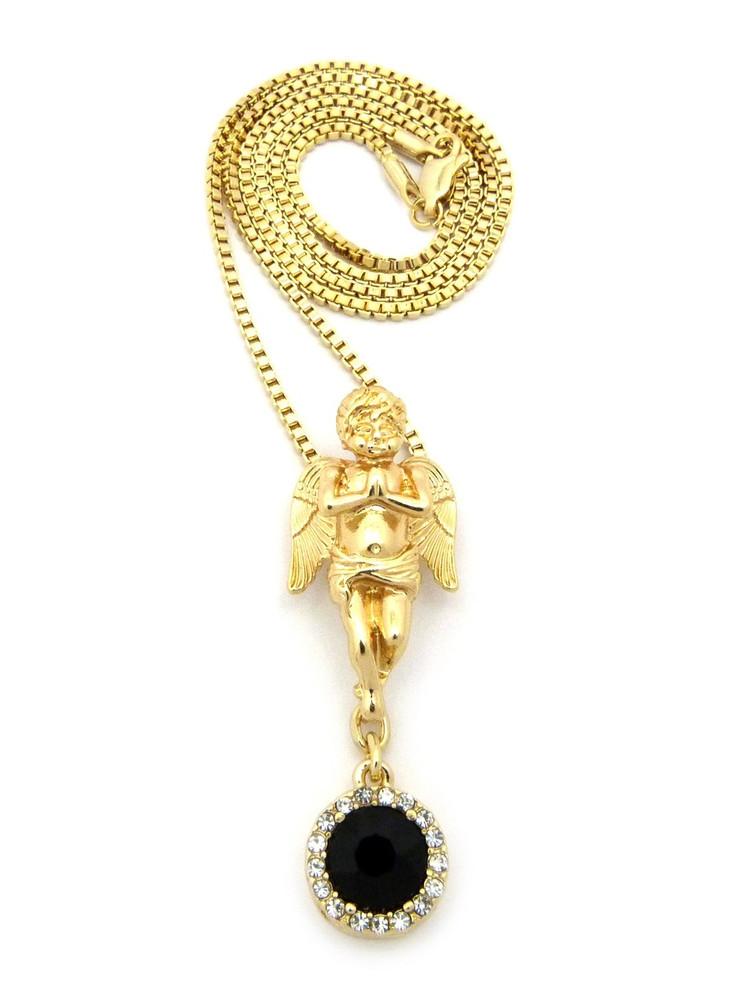 Prayer Angel Cherub Onyx 14k Gold Gemstone Pendant
