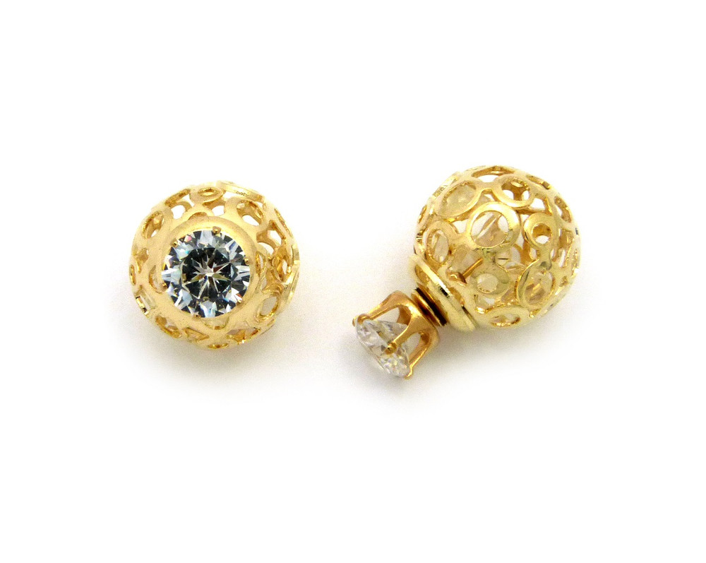 8mm Simulated Diamond 18mm Round Filigree Ball Bling Earrings