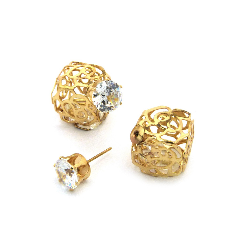 8mm Simulated Diamond 14mm Round Filigree Ball Bling Earrings