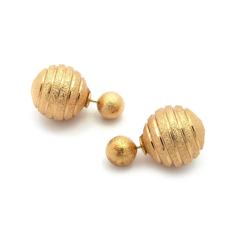 Ladies 8mm Diamond Cut Round Ball 18mm Filigree Earrings