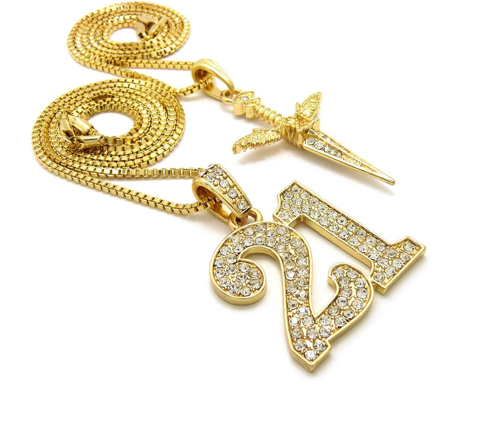 14k Gold 21 Savage Inspired Angel Wing Dagger Hip Hop Pendant