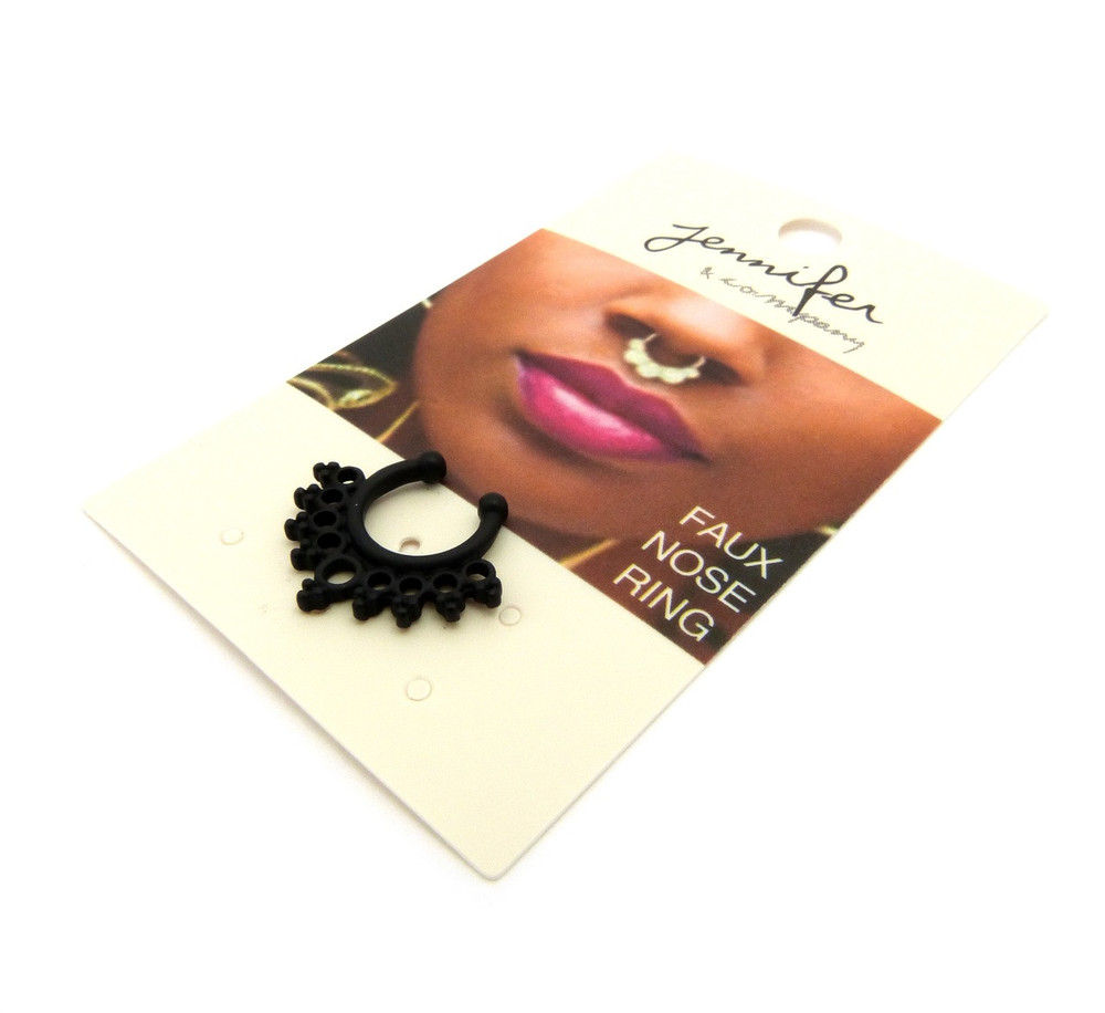 Black Hematite Triple Circle Horseshoe Nose Ring