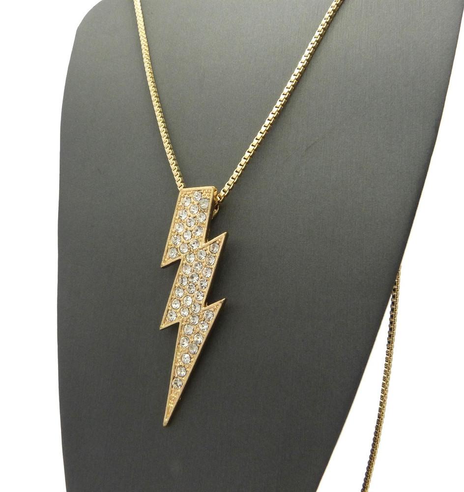 Iced Out Diamond Cz Lightning Bolt Chain Pendant