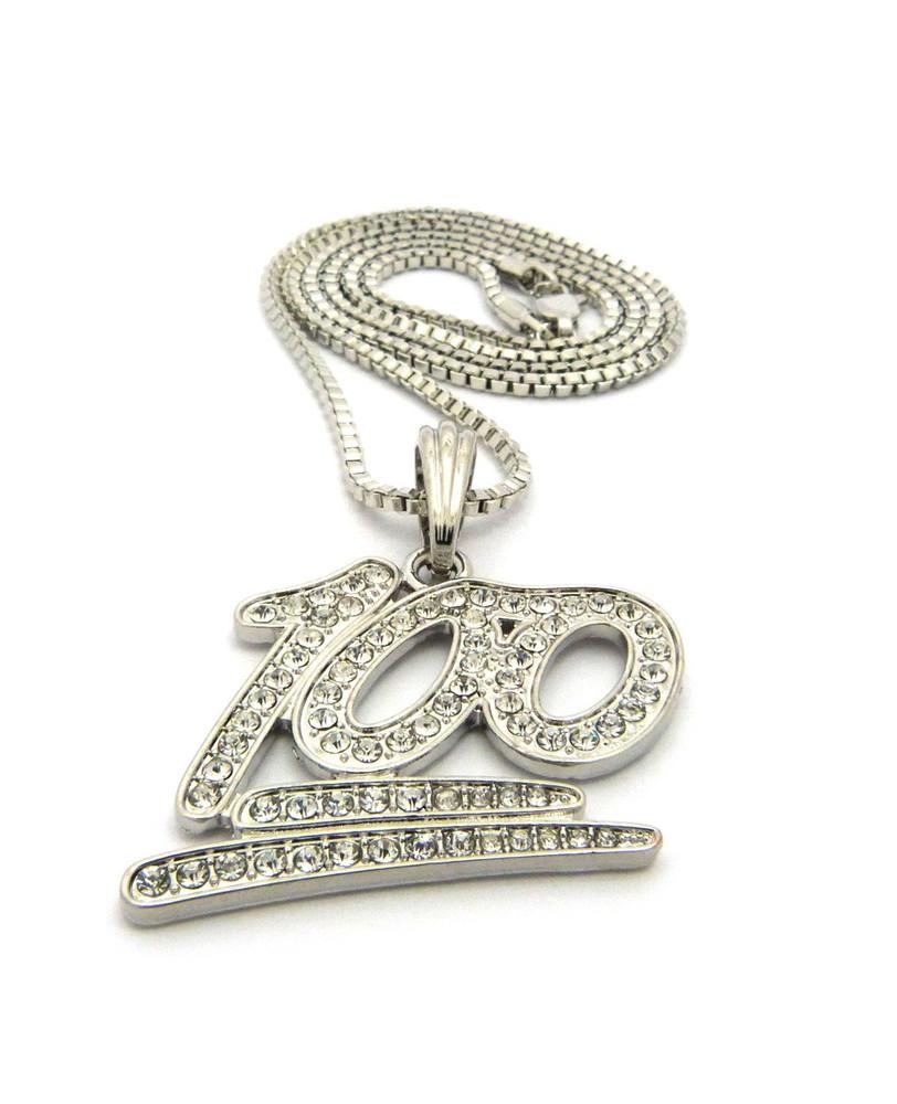Hip Hop Keep it 100 Emoji Diamond Cz Pendant Chain Necklace