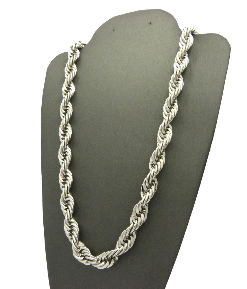 .925 Rhodium Silver 10mm 24 Inch Rope Chain Necklace