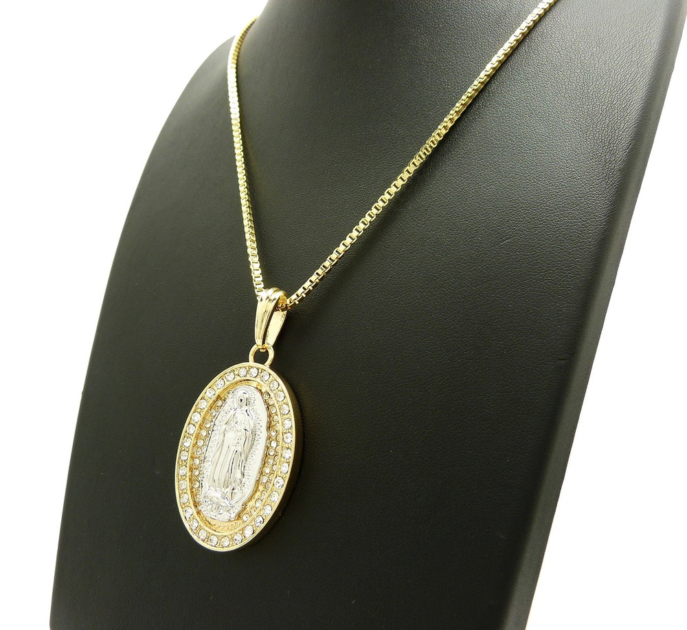 14k Gold Virgin Mary Diamond Cz Stone Pendant Box Chain
