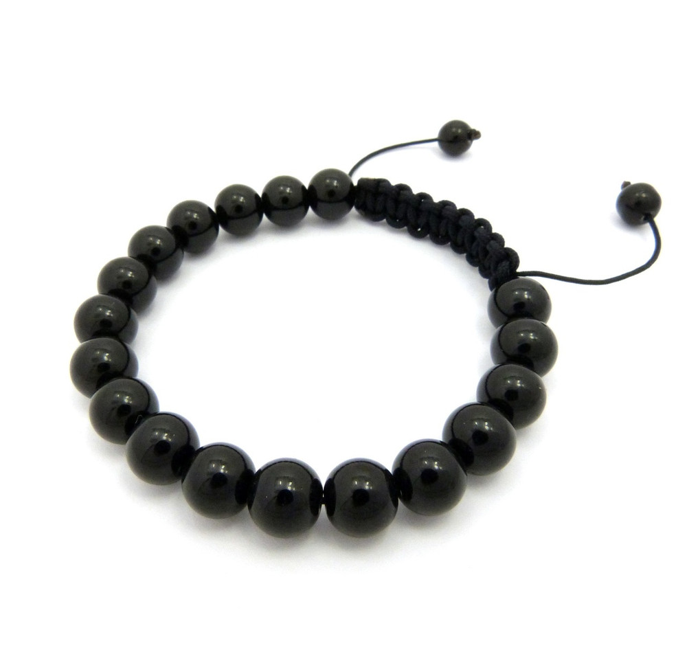 10mm Black Glass Bead Adjustable Rope Bracelet