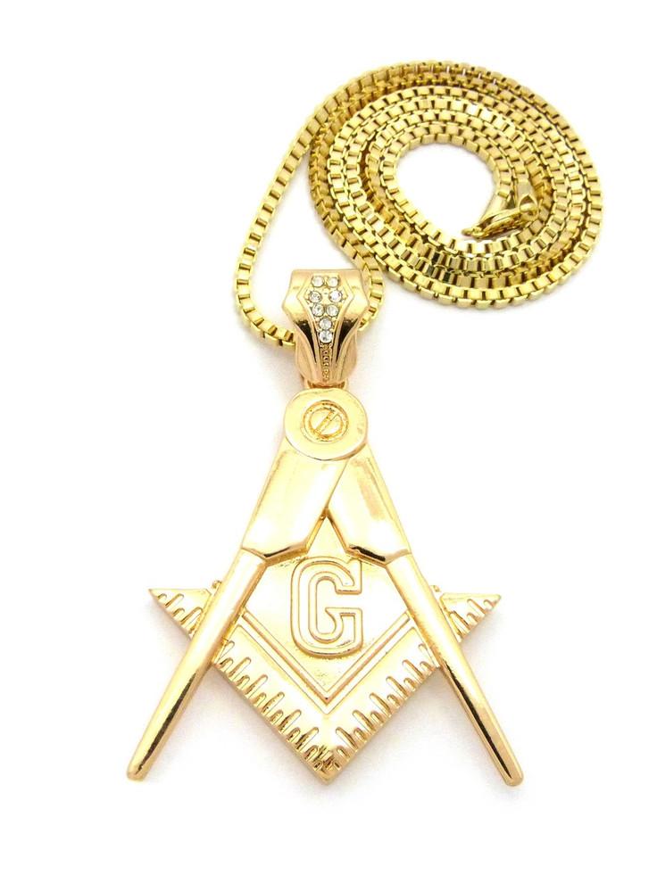 Free Mason Compass Square Simulated Diamond Pendant