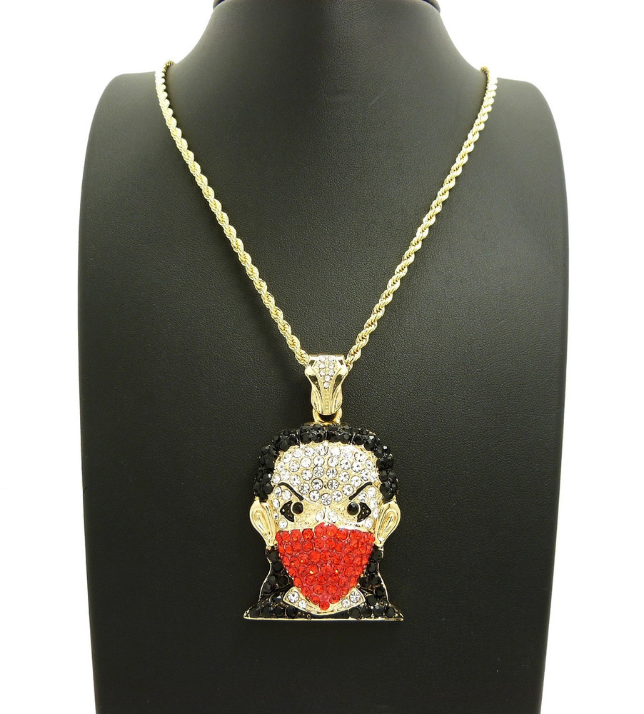14k Gold Simulated Diamond Riley Goon Hip Hop Pendant