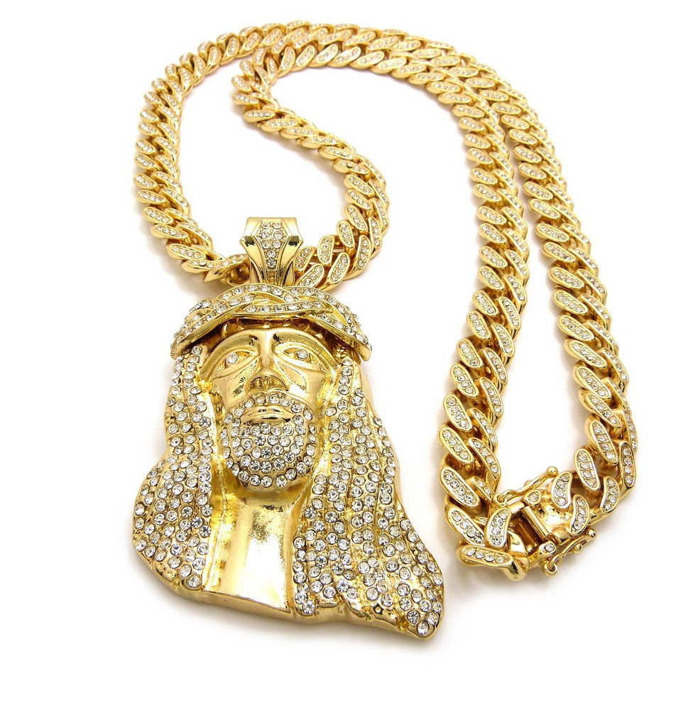 Gold all ice ancient jesus piece iced out cuban link pendant 14k gold all ice ancient jesus piece iced out cuban link pendant aloadofball Images
