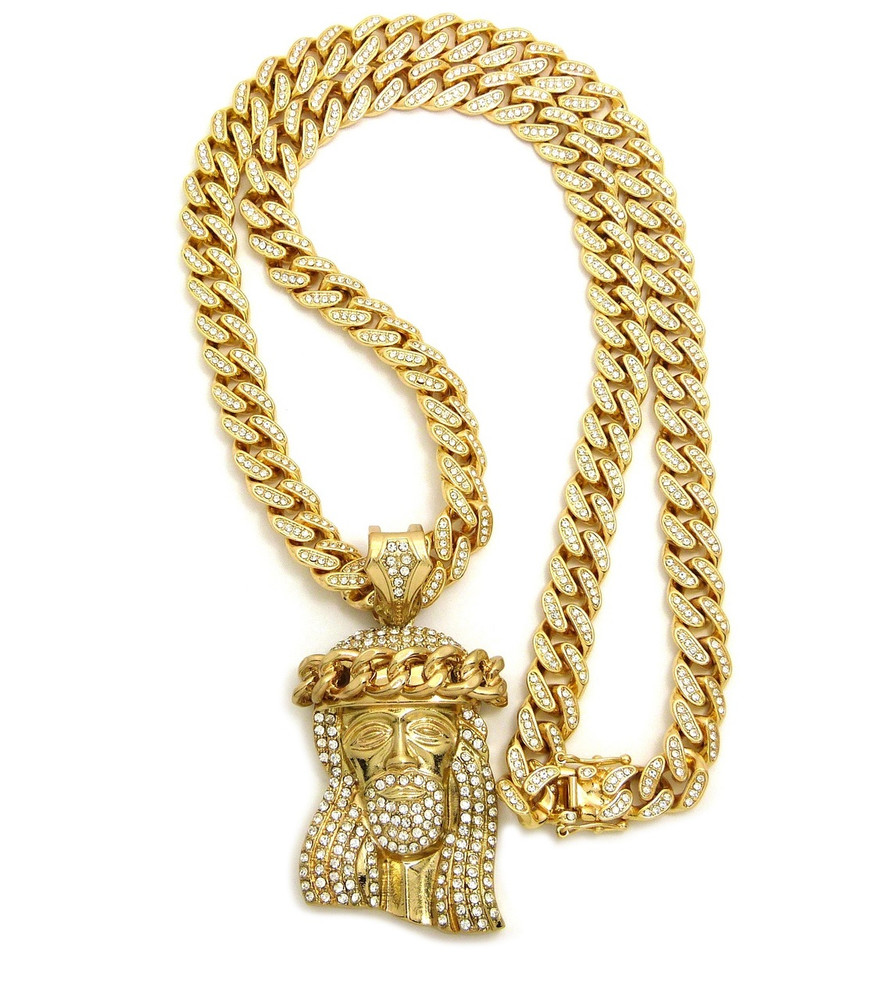 14k Gold All Ice Thorns Jesus Piece Iced Out Cuban Link Pendant