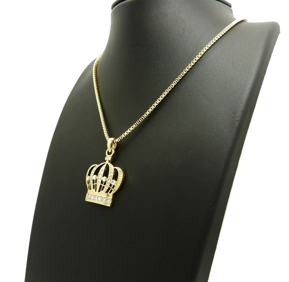Kings Crown Diamond Cz Iced Out Pendant 14k Gold
