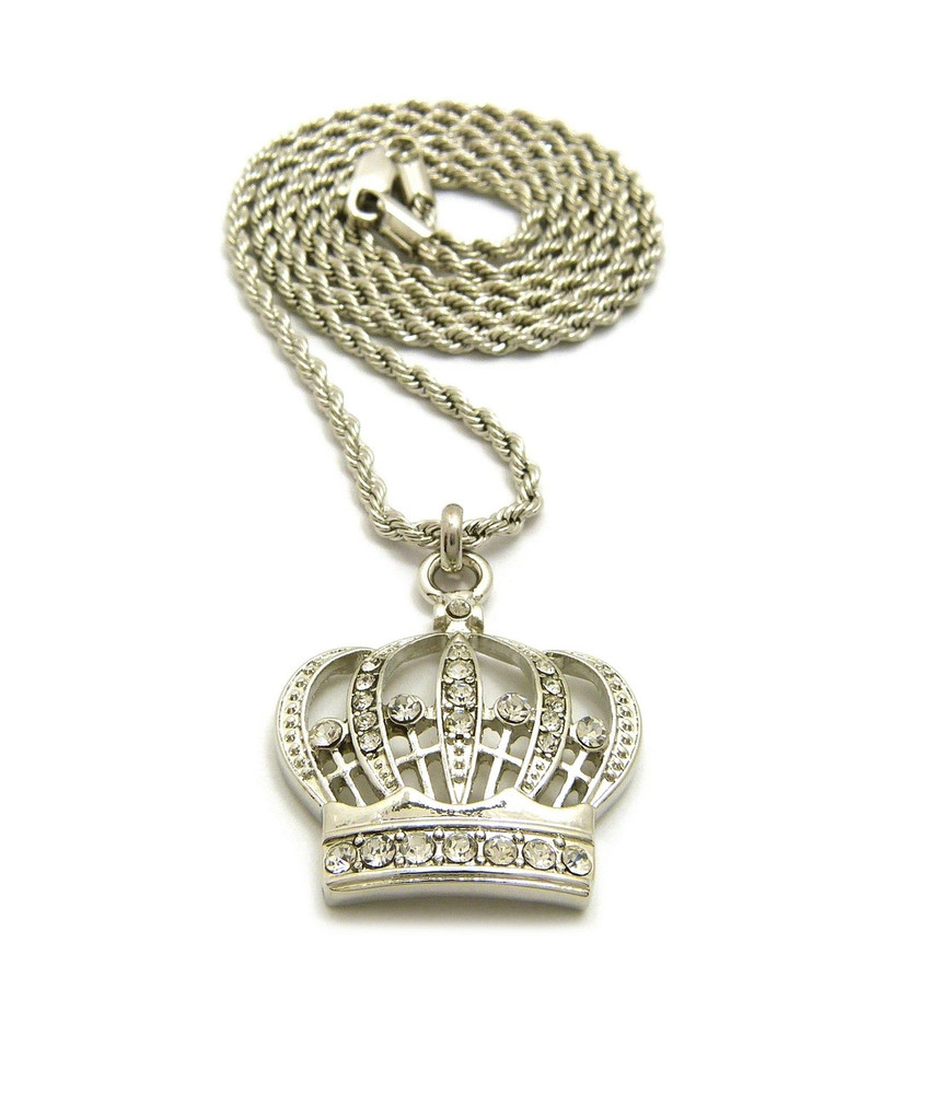 Kings Crown Diamond Cz Iced Out Pendant .925 Silver