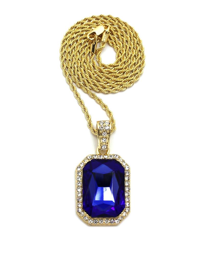 Blue Onyx Shield Simulated Diamond Iced Out Pendant Cuban Link