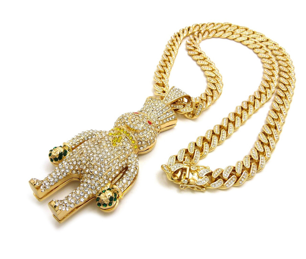14k Gold Money Bags Doughboy Iced Out Cuban Link Pendant