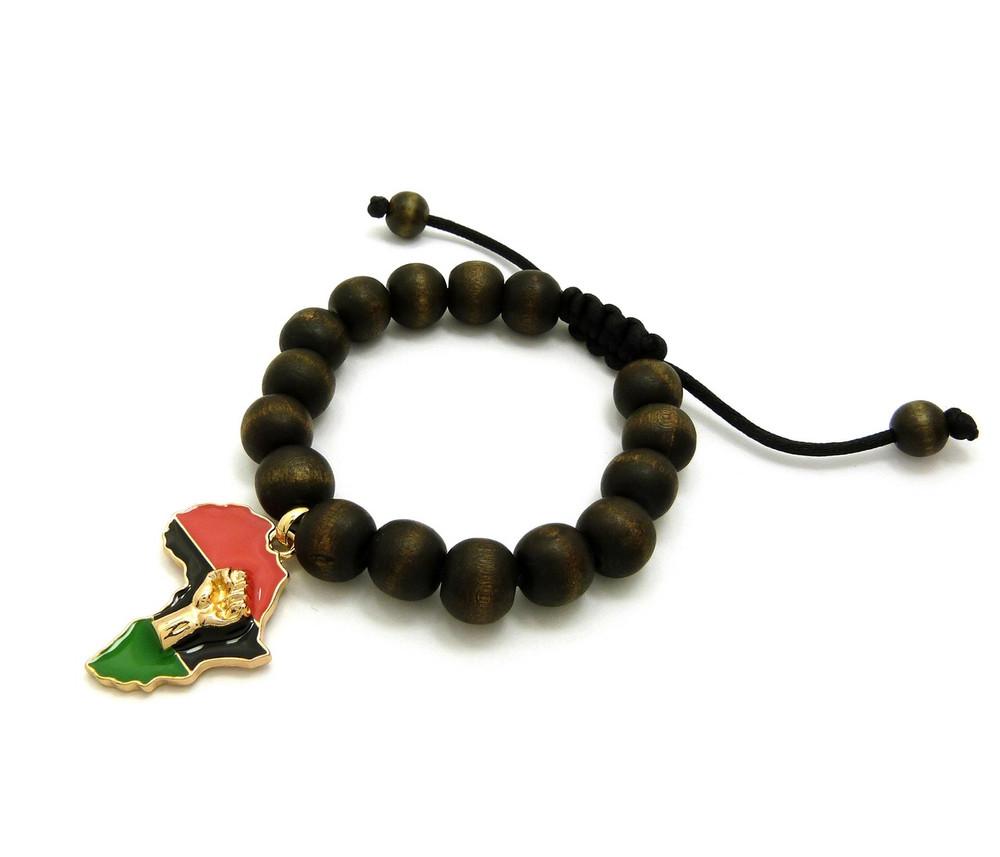 Mother Africa Black Power Fist 14k Gold Accented Wood Bracelet