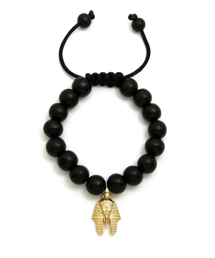 Egyptian King Tut 14k Gold Wood Bead Bracelet