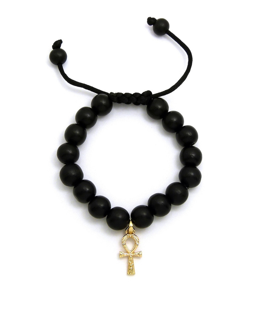 Egyptian Ankh Cross 14k Gold Wood Bead Bracelet
