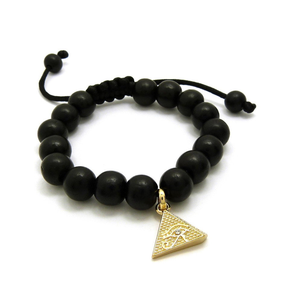 Egyptian African Pyramid 14k Gold Wooden Bead Bracelet