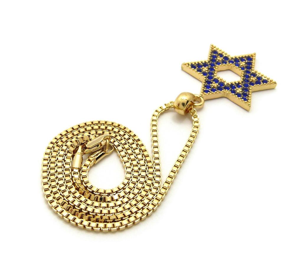 14k Gold Blue Diamond Sz Stone Star of David Chain Pendant
