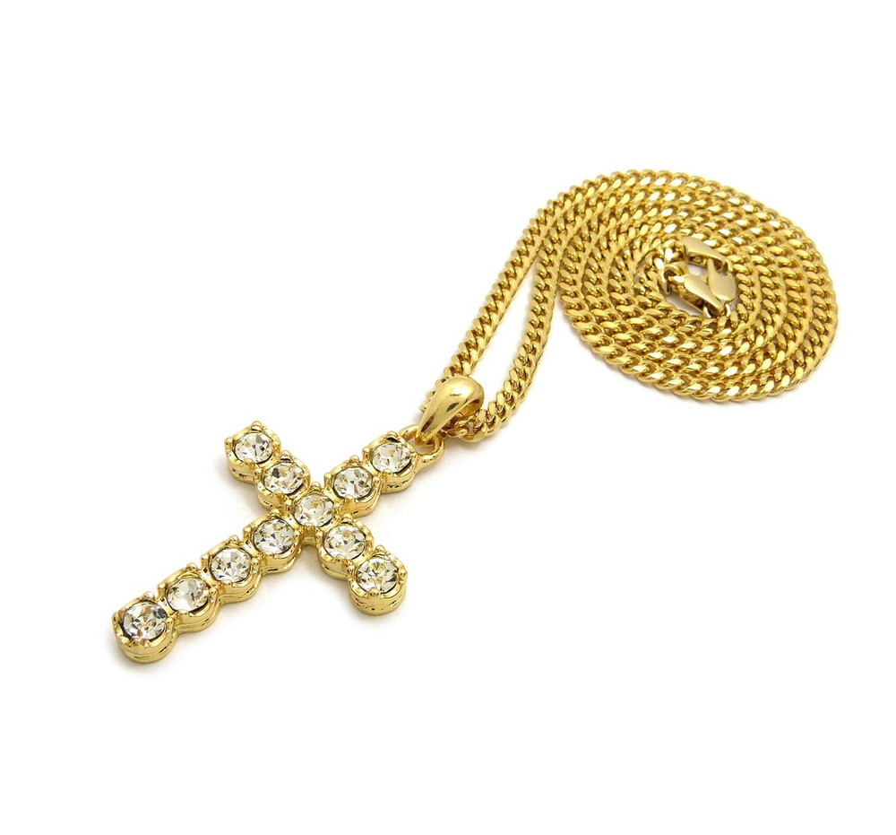 14k Gold Round Cut Iced Out Cross Pendant