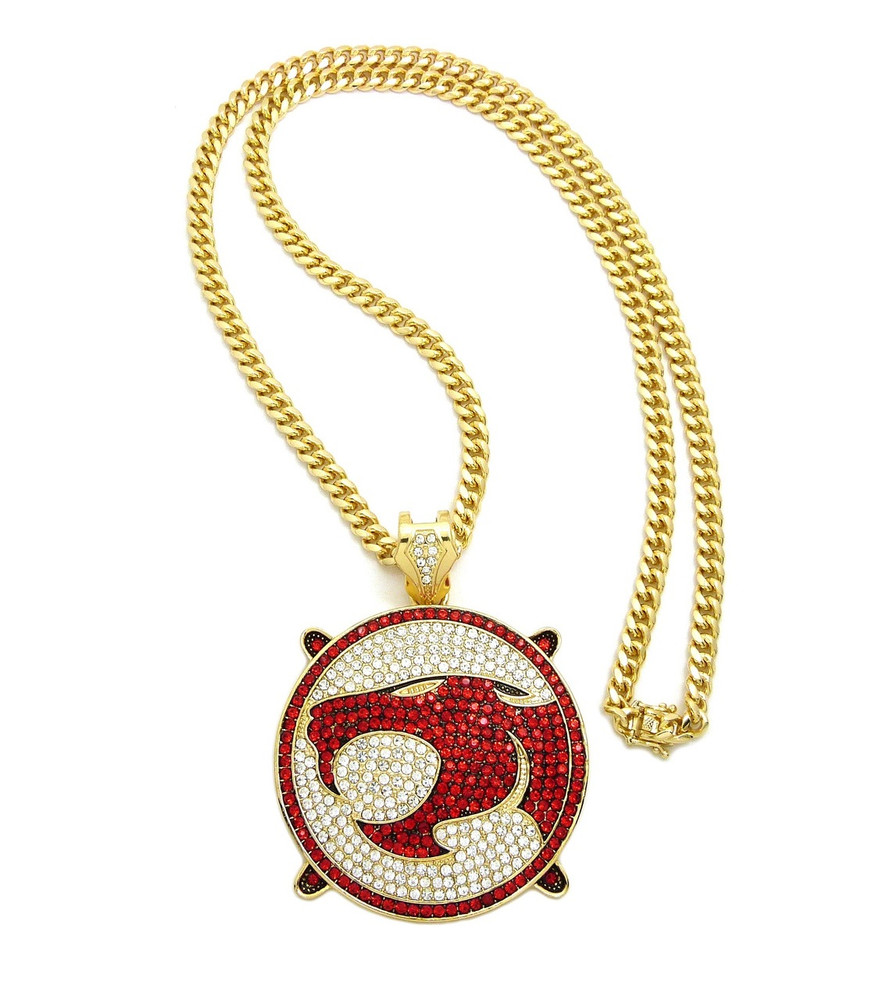 14k Gold ThunderCats Iced Out Franco Link Chain Pendant