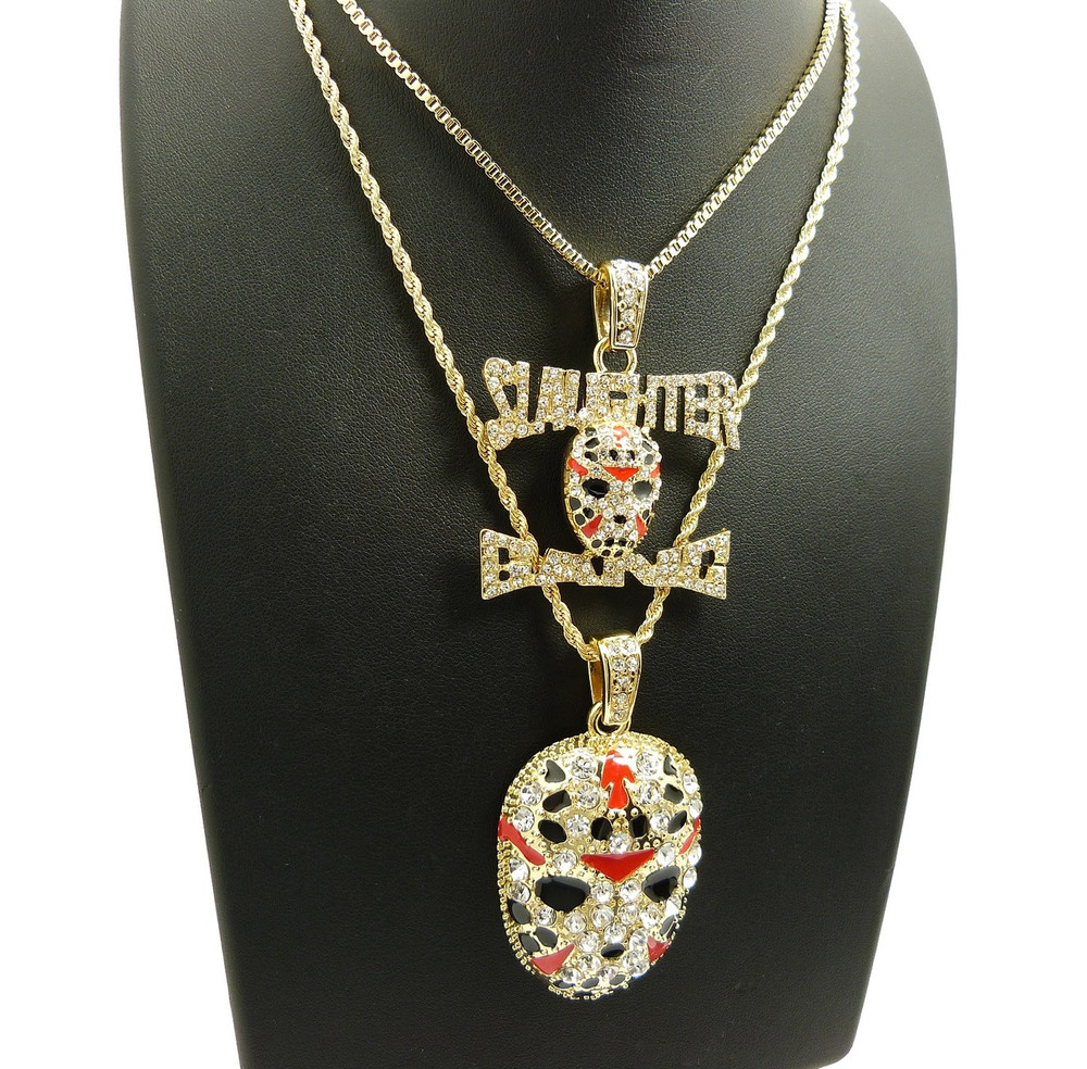 14k Gold 21 Savage Inspired Slaughter Gang Hockey Mask Chain