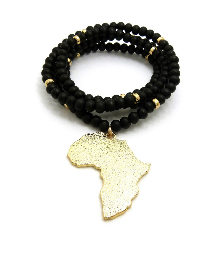 14k Textured Africa Continent Wooden Chain Pendant