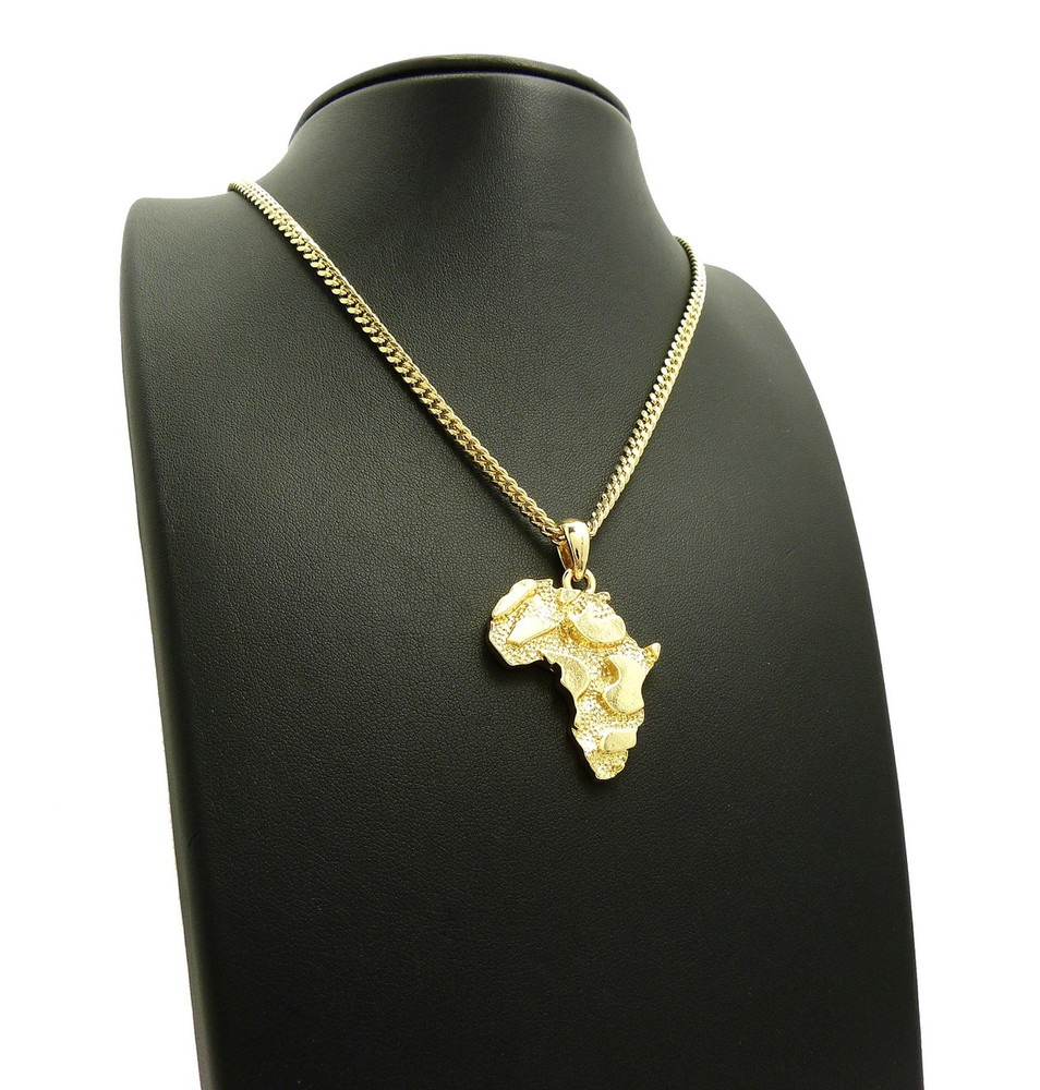 14k Gold Mother Africa Nugget Chain Pendant