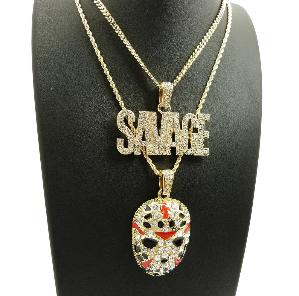 14k Gold Savage Hockey Mask Pendant Hip Hop Chain Bling Jewelz