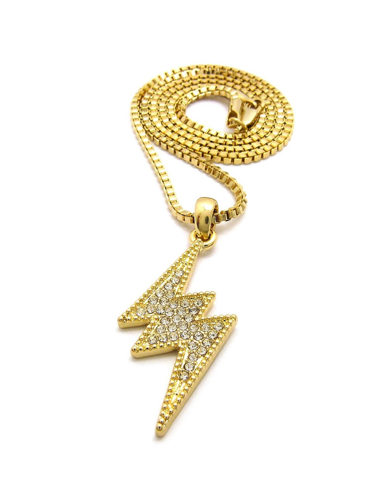14k Gold Diamond Cz Lightning Bolt Hip Hop Box Chain Pendant