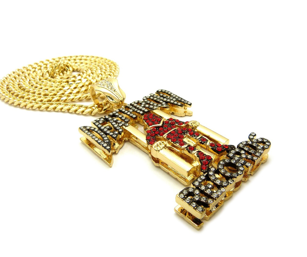 14k Gold Iced Out Box Lock Cuban Link Death Row Pendant