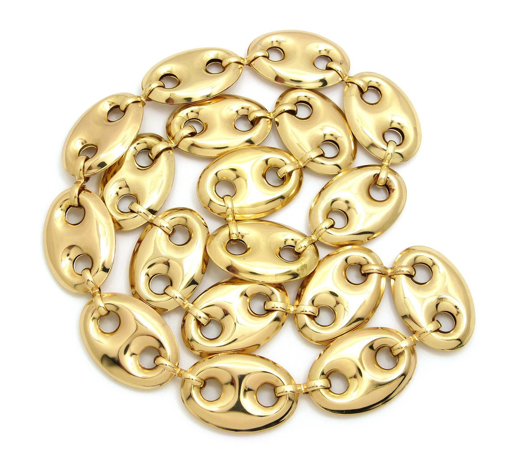 14k Gold Old School G- Link Style Hip Hop Chain Necklace
