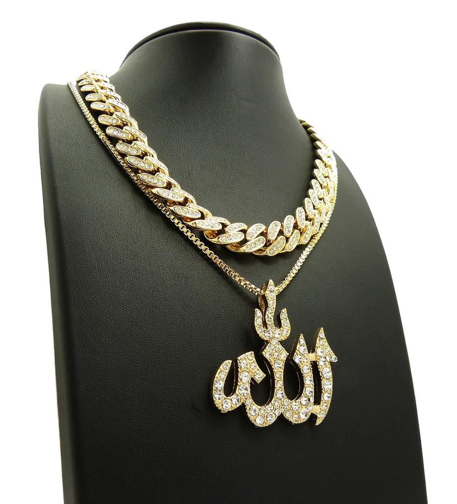 14k Gold Simulated Diamond Cuban Link Allah Chain Set