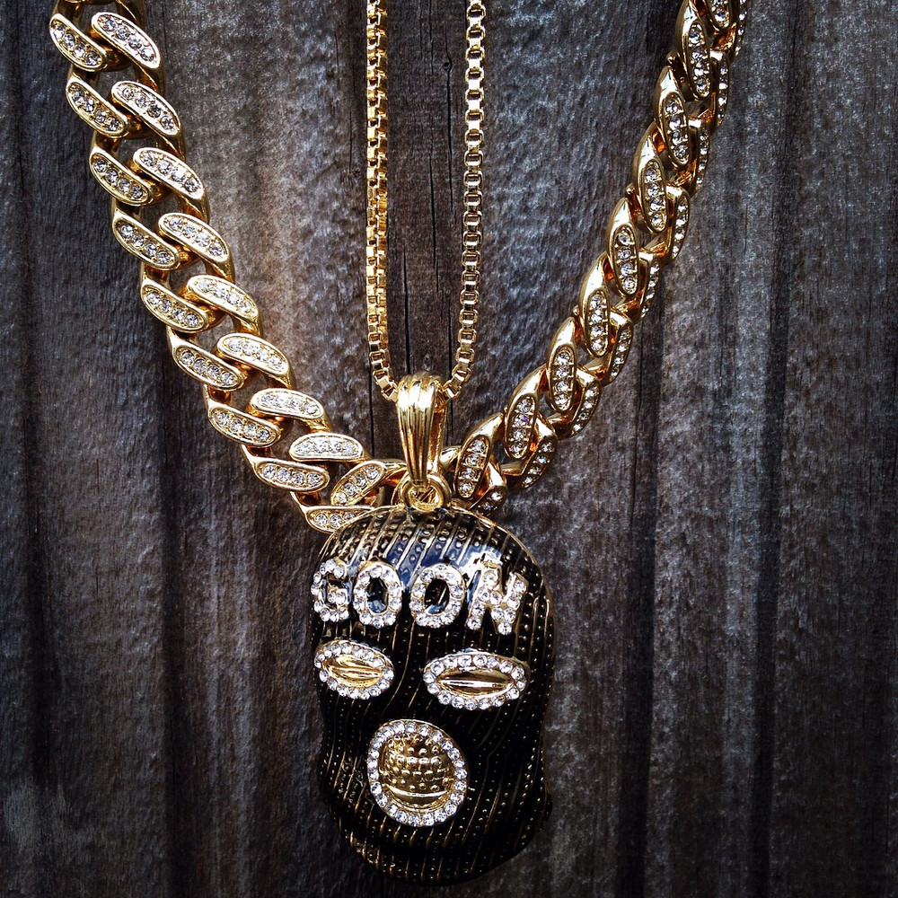 14k Gold Iced Out Cuban Link Goon Ski Mask Pendant Chain Set